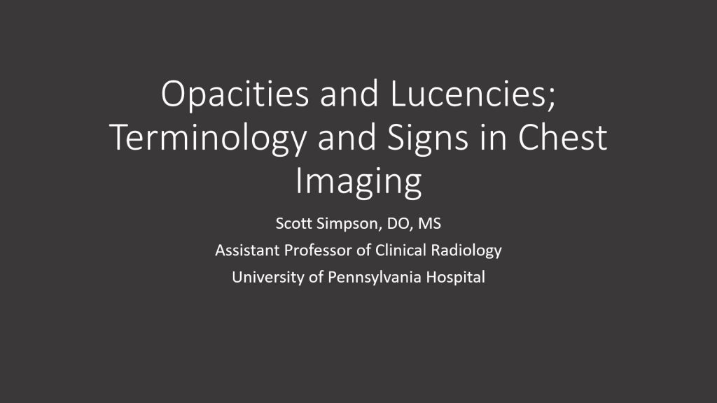 Society of Thoracic Radiology | STR Curriculum for Medical Students